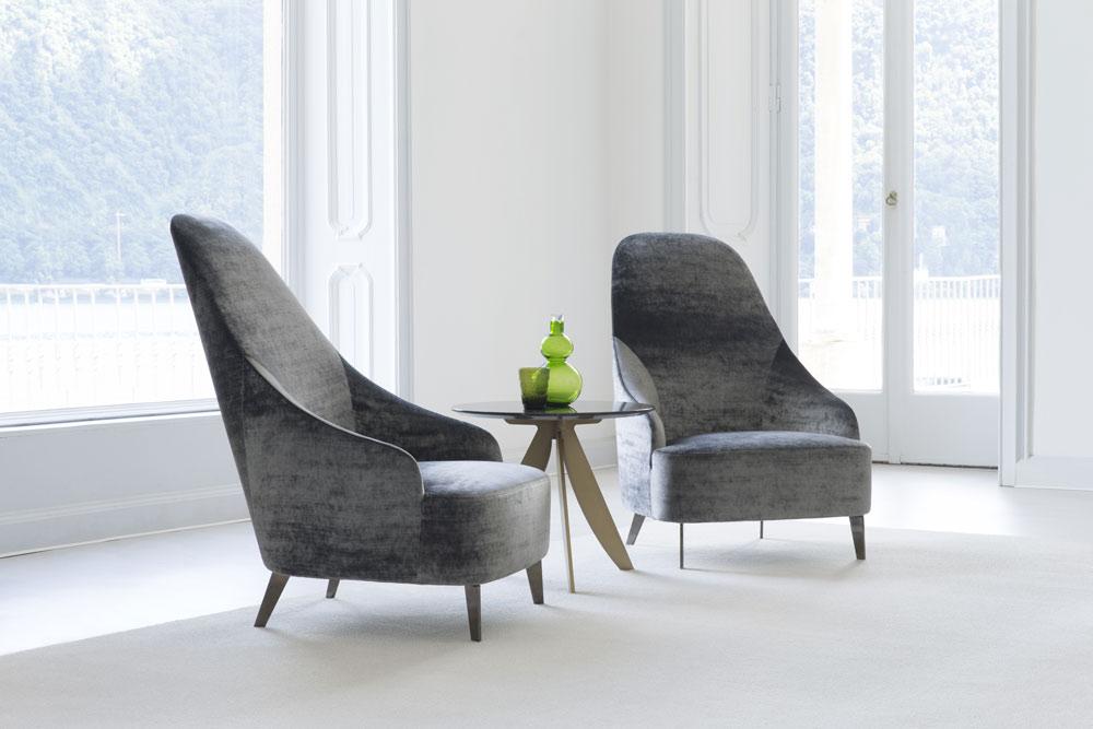 vanessa velvet high-back armchair