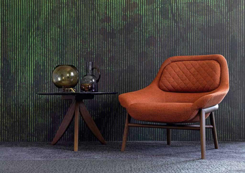 предметы интерьера берто:кресло hanna из оранжевой ткани и круглый столик circus