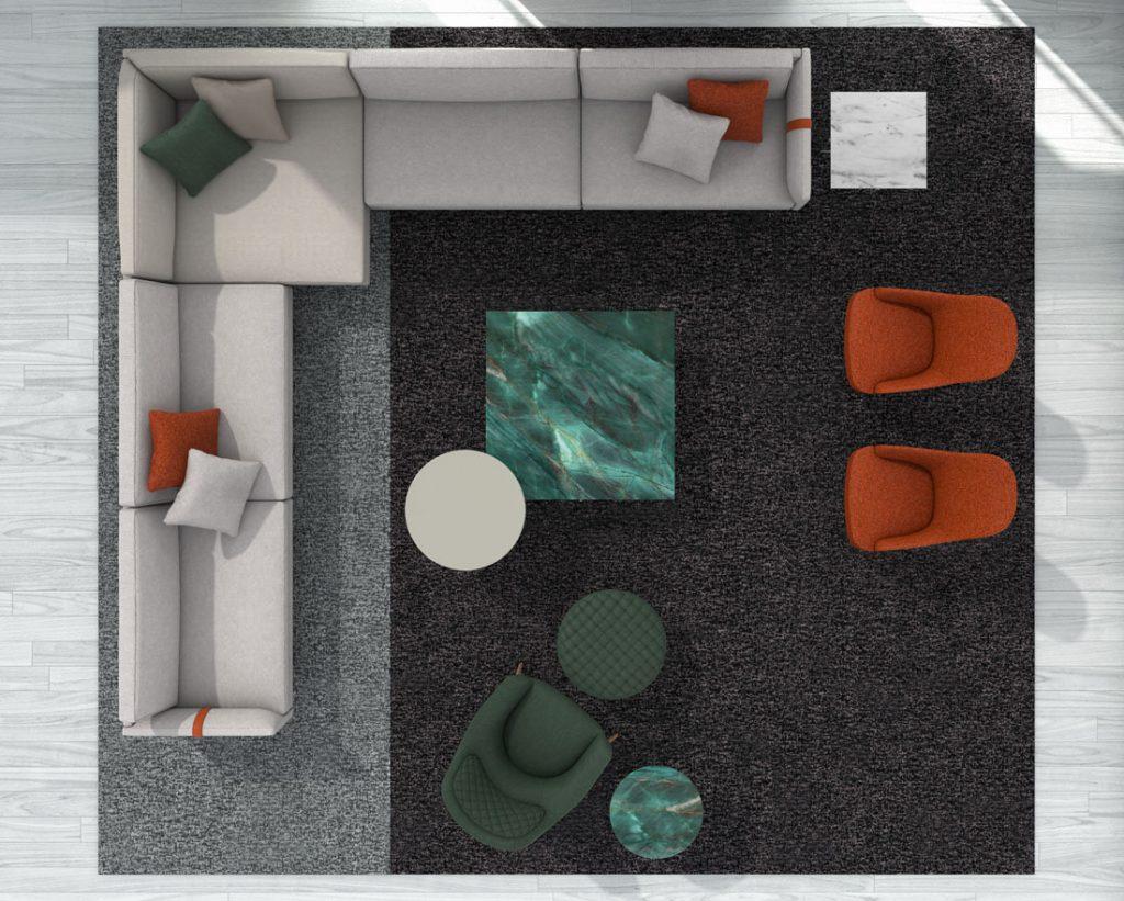Угловой диван Dee Dee БертО с предметами интерьера Коллекции БертО 2021