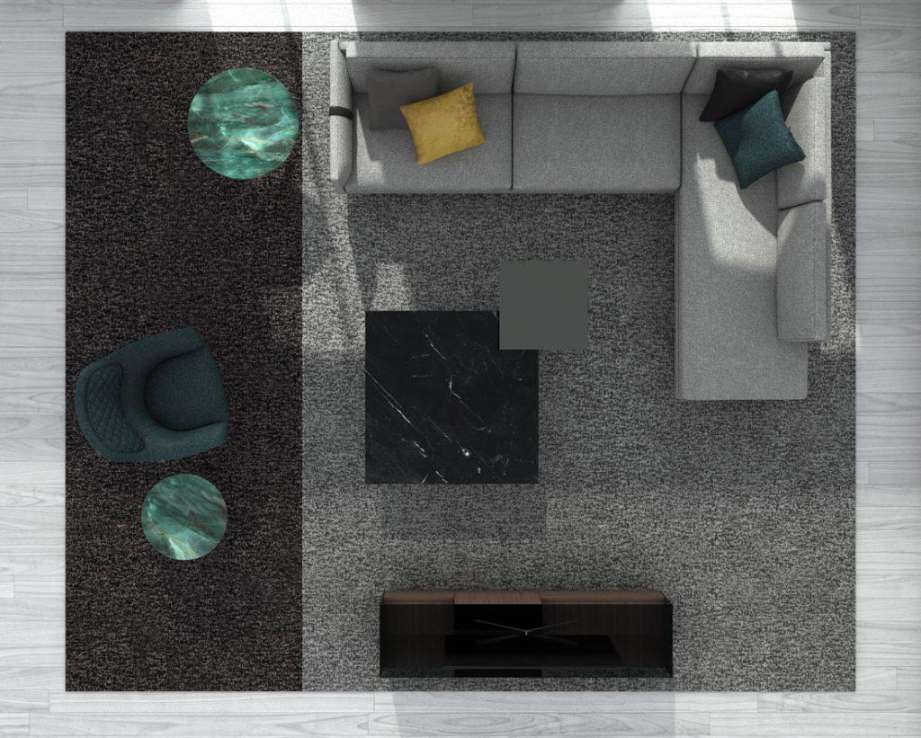 Современный диван Dee Dee БертО с предметами интерьера Коллекции БертО 2021