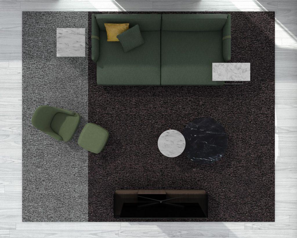 Глубокий диван Dee Dee БертО с предметами интерьера Коллекции БертО 2021